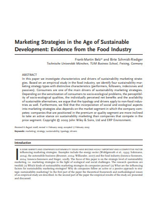 Marketing Strategies in the Age of Sustainable