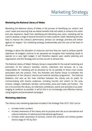 Marketing Strategies the National Library of Wales