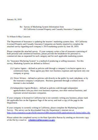Marketing Survey Cover Letter