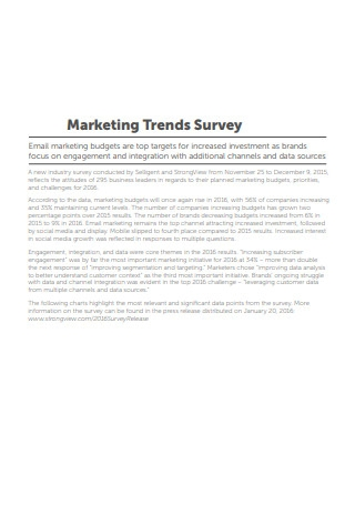 Marketing Trends Survey