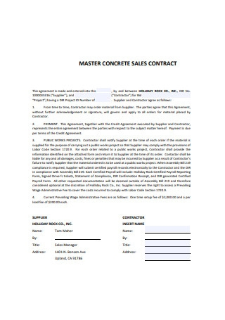 Master Concrete Sales Contract Sample