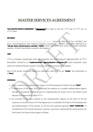 Master Service Arrangement