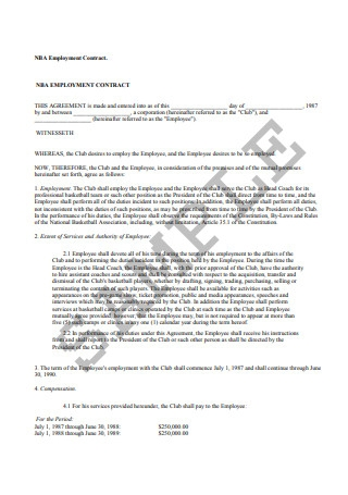 NBA Employment Contract Sample