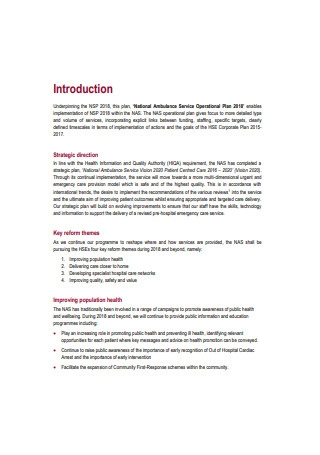 National Ambulance Service Operational Plan Sample