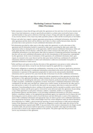 National Marketing Contract Sample