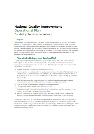 National Quality Improvement Operational Plan