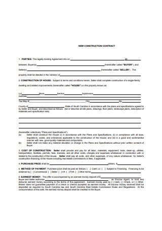 New Construction Sales Contract