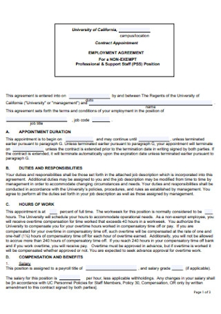 Non Exempt Employment Contract Sample