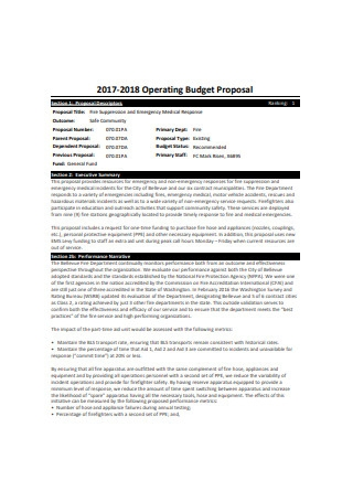 Operating Budget Proposal Sample