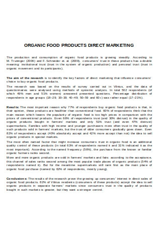 Organic Food Products Direct Marketing