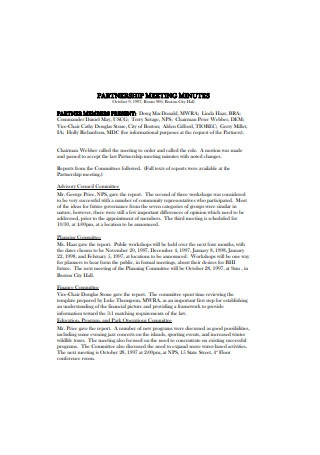 Partnership Meeting Minutes Sample