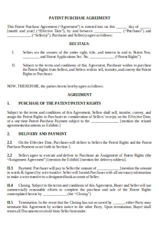 Patent Purchase Agreement
