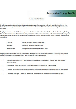 Personality Sales Report Styles Profile