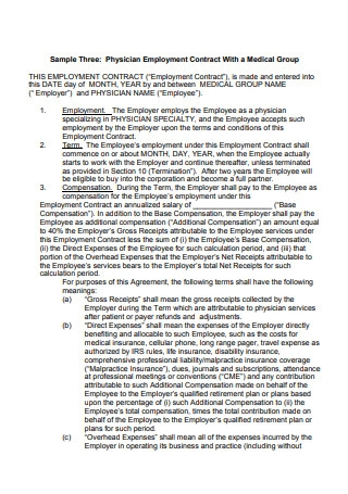 Physician Employment Contract With a Medical Group