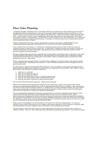 Place Sales Planning Sample