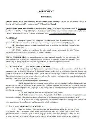 Power Purchase Agreement in DOC