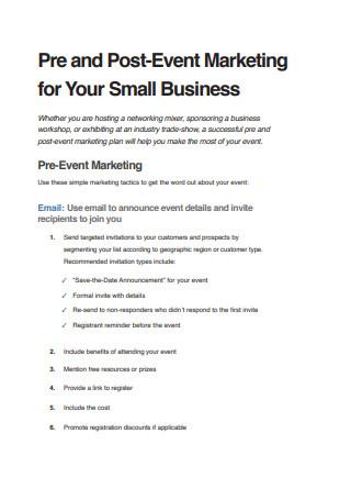 Pre and Post Event Marketing Strategic