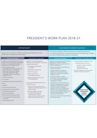 President Work Plan
