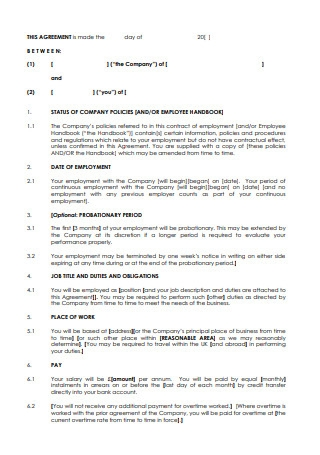 Printable Employment Contract