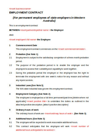 Printable Employment Contract Sample