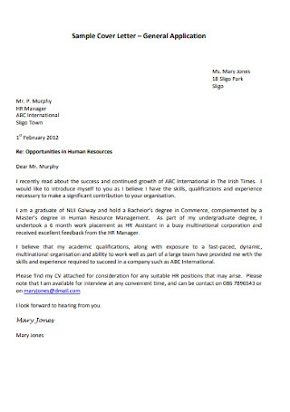 Printable HR Manager Cover Letter1