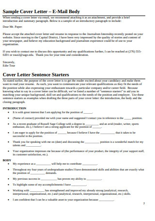 Printable Sample Cover Letter