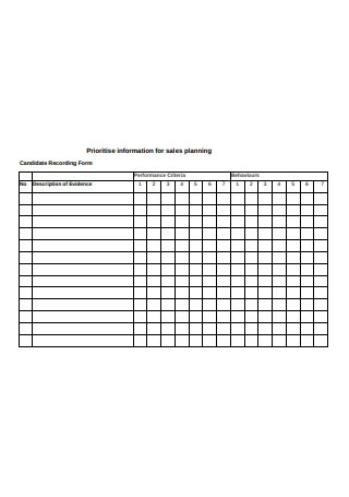Prioritise information for sales planning Sample