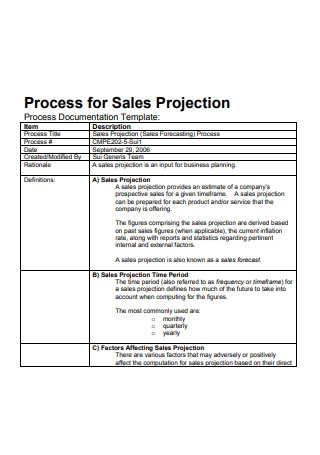 Process for Sales Report Projection