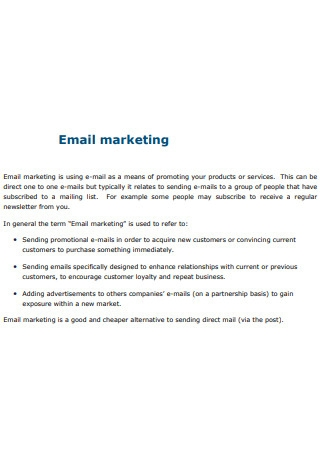 Product Email Marketing Sample