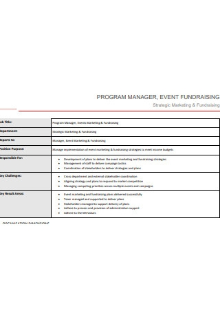 Program Manager Event Fundraising
