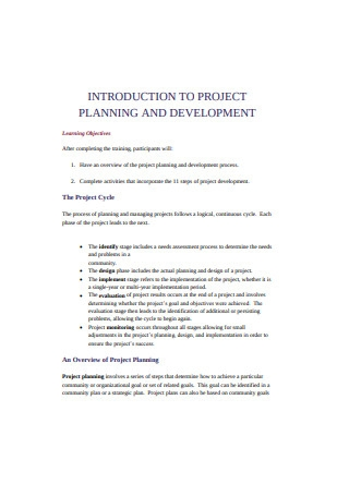 Project Planning and Dvelopment