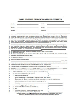 Property Sales Contract Sample