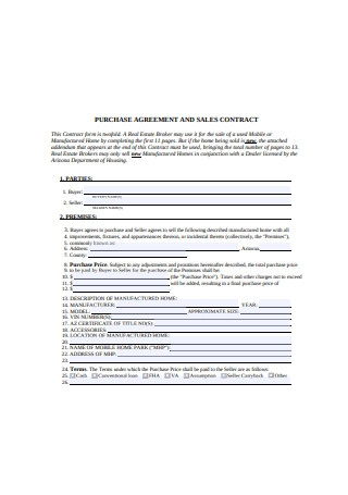 Purchase Agreement and Sales Contract Sample