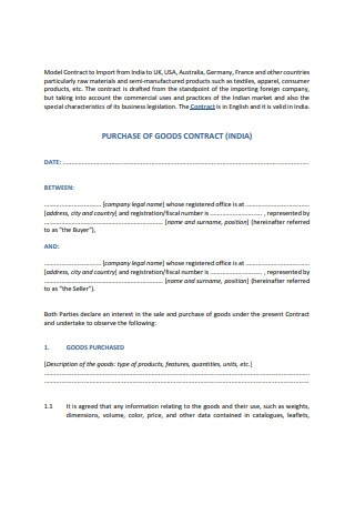 Purchase of Goods Contract