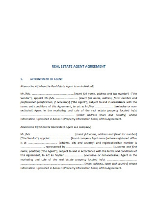 Real Estate Marketing Agent Agreement