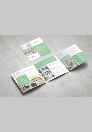 Real Estate Square Trifold Brochure InDesign