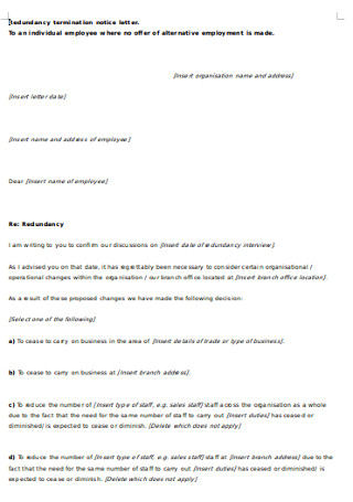 Redundancy termination notice letter