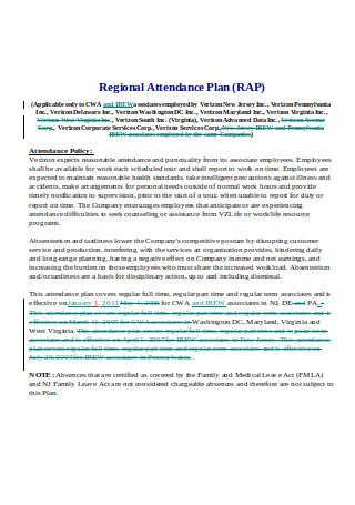 Regional Attendance Plan RAP