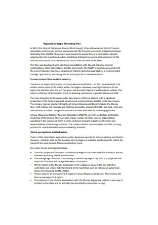 Regional Strategic Marketing Plan Sample