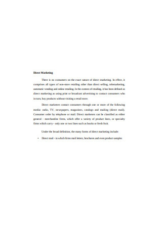 Retail Direct Marketing Sample