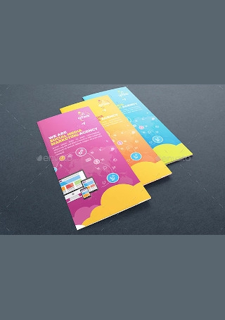 Retro Social Media Marketing Trifold Brochure