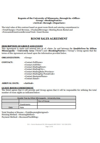 Room Sales Agreement Example