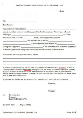 SAmple Student Suspension Notification LEtter