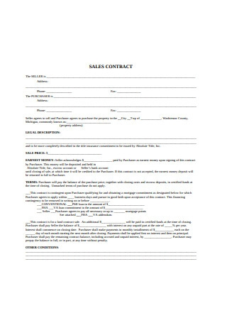 Sales Contract Example