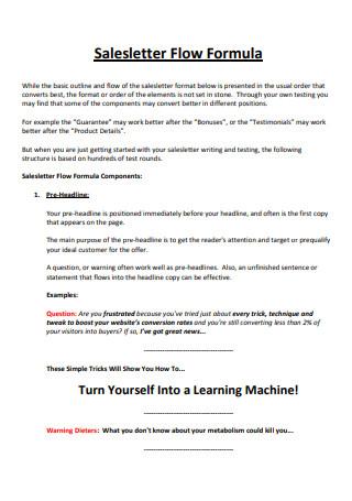 Sales Letter Flow Formula