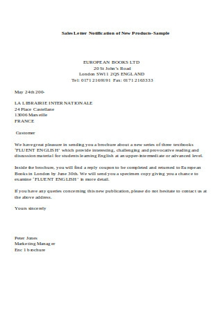 Sales Letter Notification of New Products