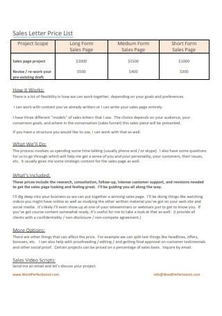 Sales Letter Price List