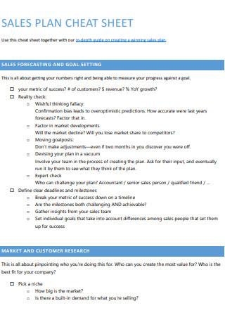 Sales Plan Cheat Sheet
