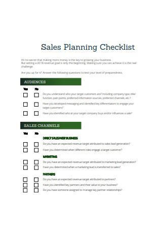 Sales Planning Checklist