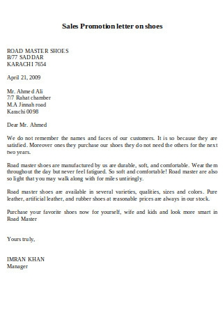 Sales Promotion Letter on Shoes